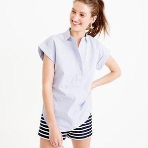 J Crew Short Sleeve Popover Shirt in Stripe Blue 0